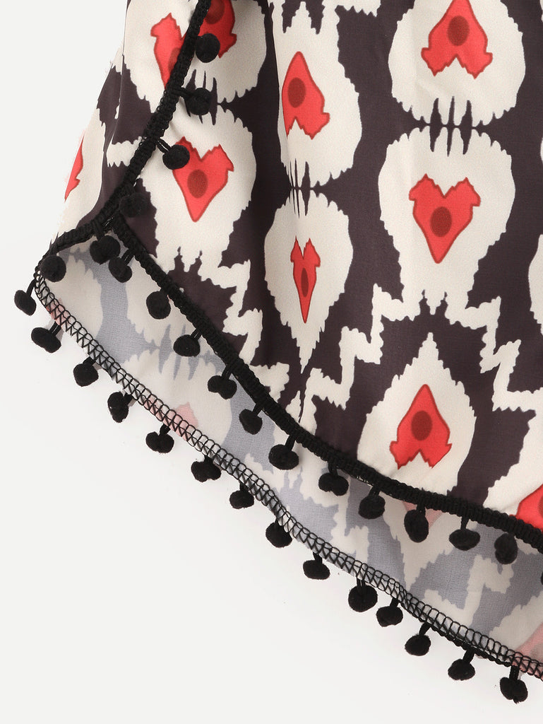 Multicolor Elastic Waist Heart Print Pom Pom Shorts - The Style Syndrome  - 4