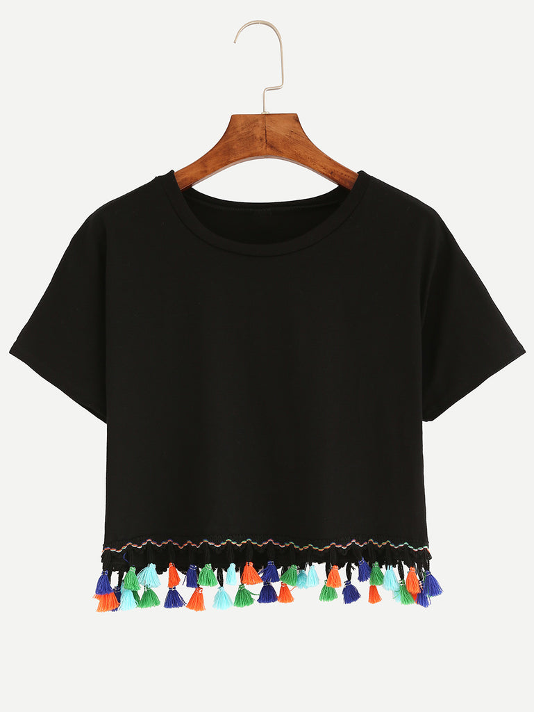 Tassel Trimmed Crop T-shirt - Black - The Style Syndrome  - 1