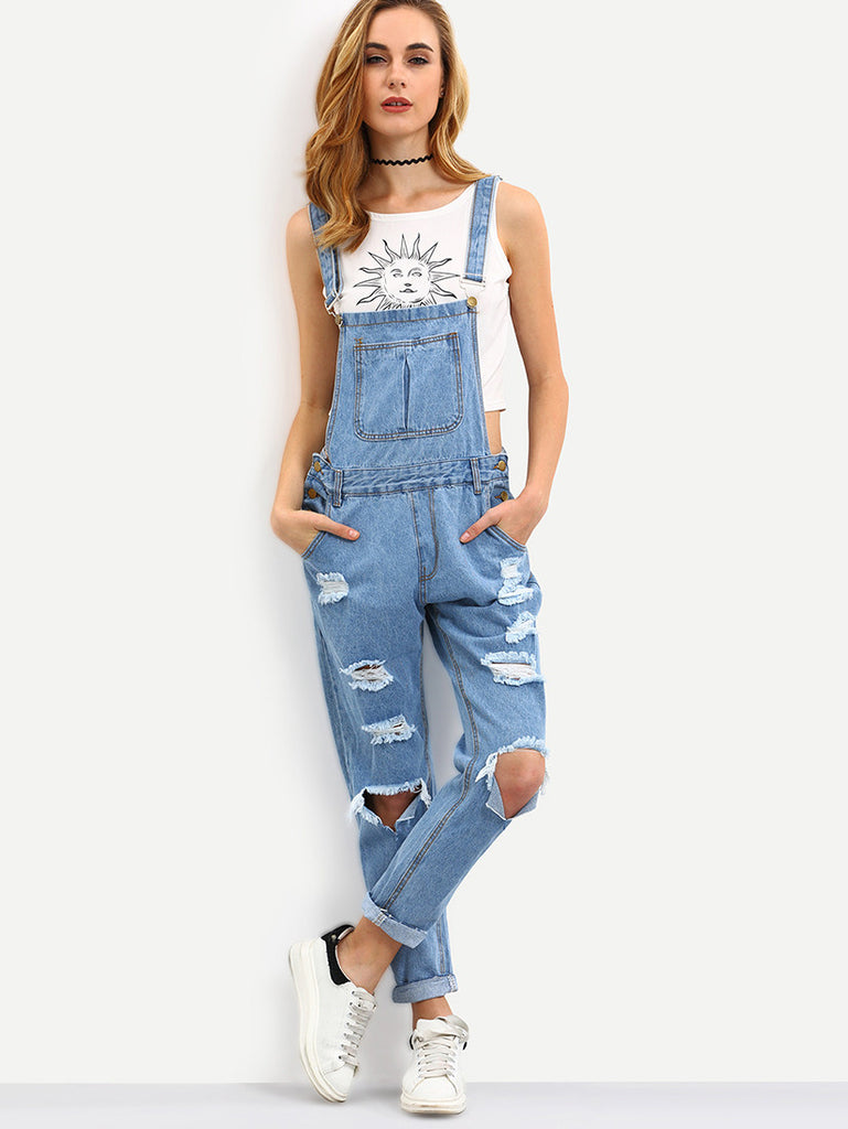 Blue Straps Ripped Denim Jumpsuit - The Style Syndrome