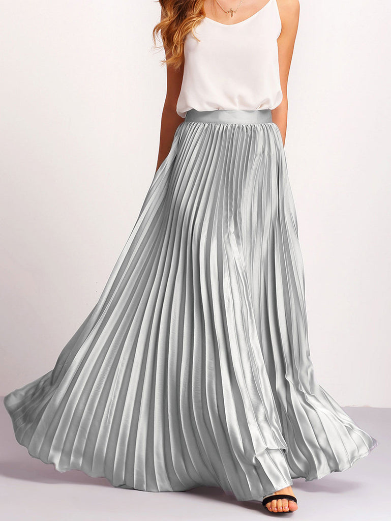 Silver Zipper Side Pleated Flare Maxi Skirt - The Style Syndrome  - 1