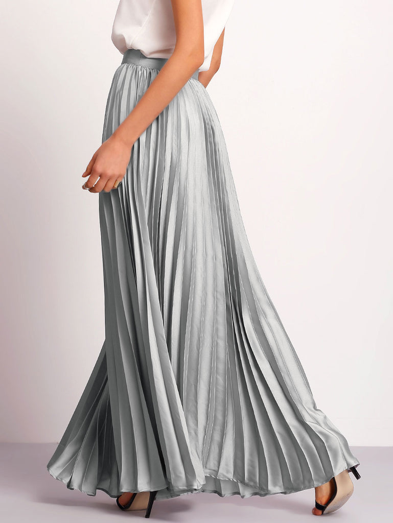 Silver Zipper Side Pleated Flare Maxi Skirt - The Style Syndrome  - 2