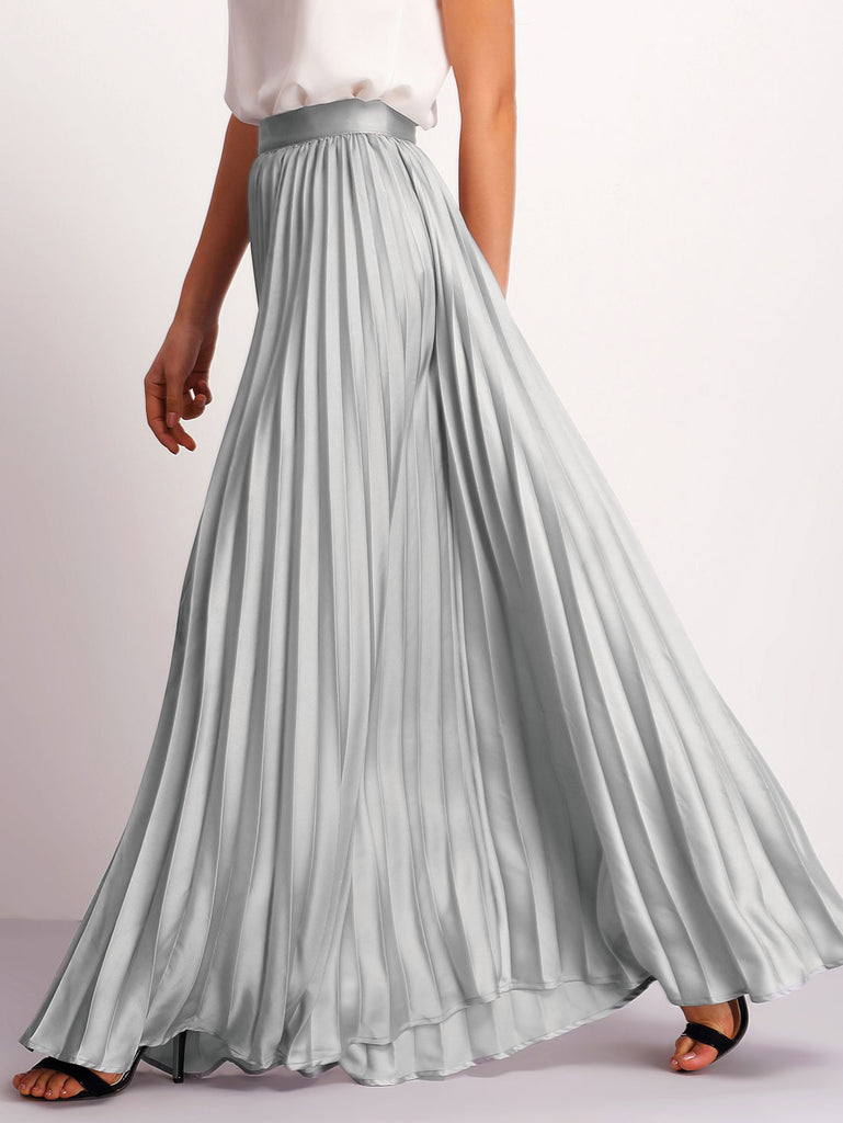 Silver Zipper Side Pleated Flare Maxi Skirt - The Style Syndrome  - 3