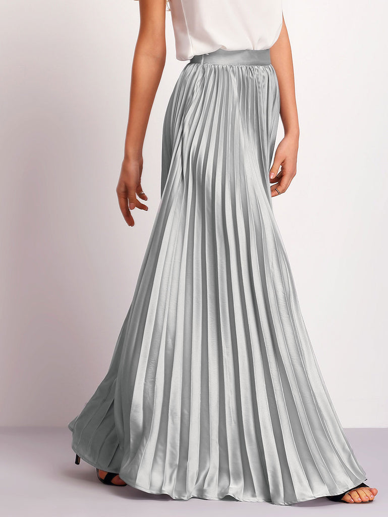 Silver Zipper Side Pleated Flare Maxi Skirt - The Style Syndrome  - 4