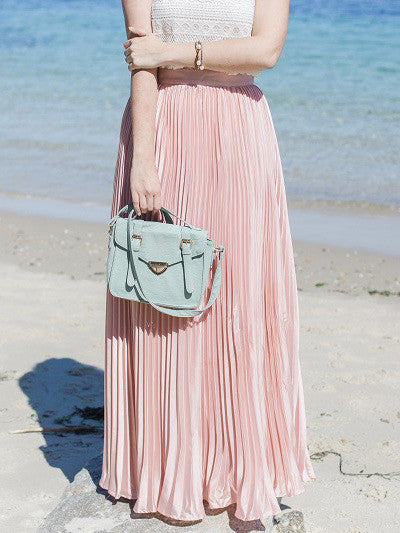 Pink Pleated Maxi Skirt - The Style Syndrome  - 1