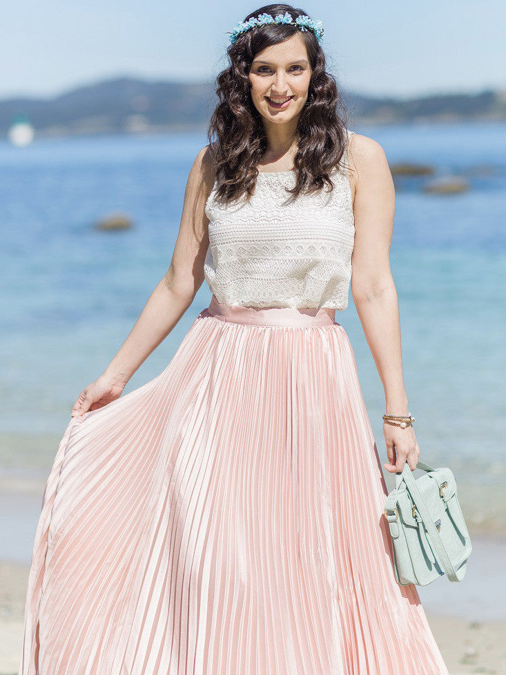 Pink Pleated Maxi Skirt - The Style Syndrome  - 3