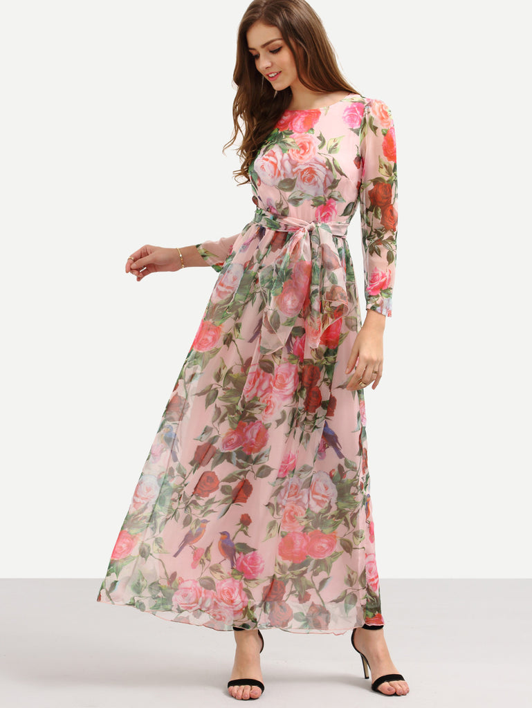 Self-Tie Rose Print Long Sleeve Chiffon Dress - Pink - The Style Syndrome  - 1