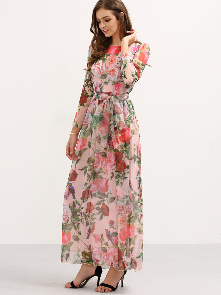 Self-Tie Rose Print Long Sleeve Chiffon Dress - Pink - The Style Syndrome  - 2