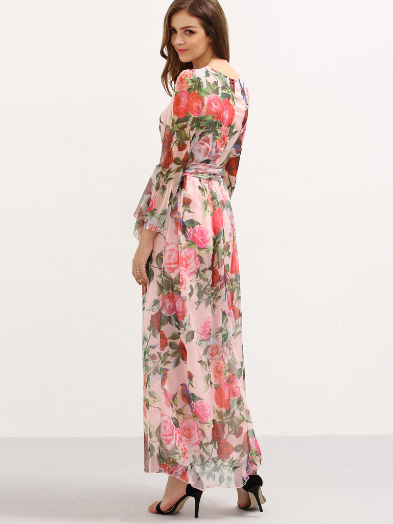 Self-Tie Rose Print Long Sleeve Chiffon Dress - Pink - The Style Syndrome  - 3
