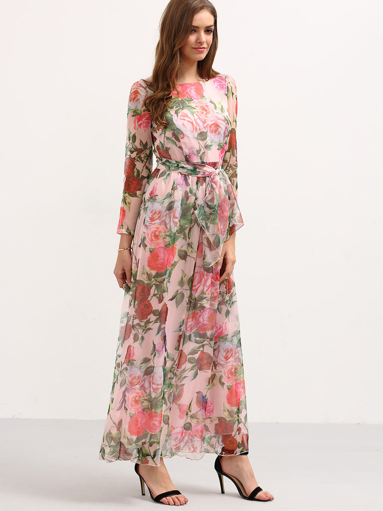 Self-Tie Rose Print Long Sleeve Chiffon Dress - Pink - The Style Syndrome  - 4