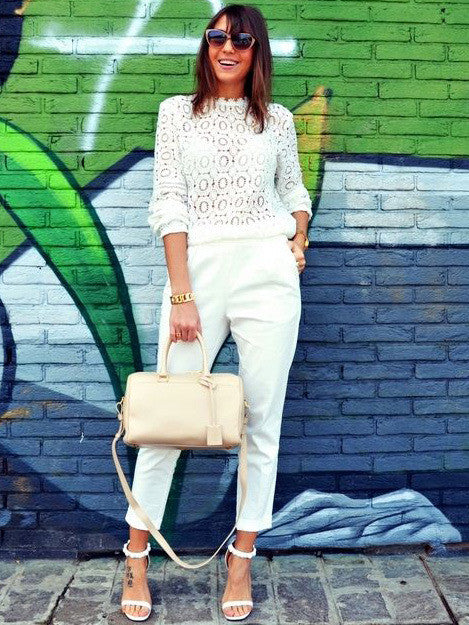 White Lace Mock Neck Blouse - The Style Syndrome  - 1