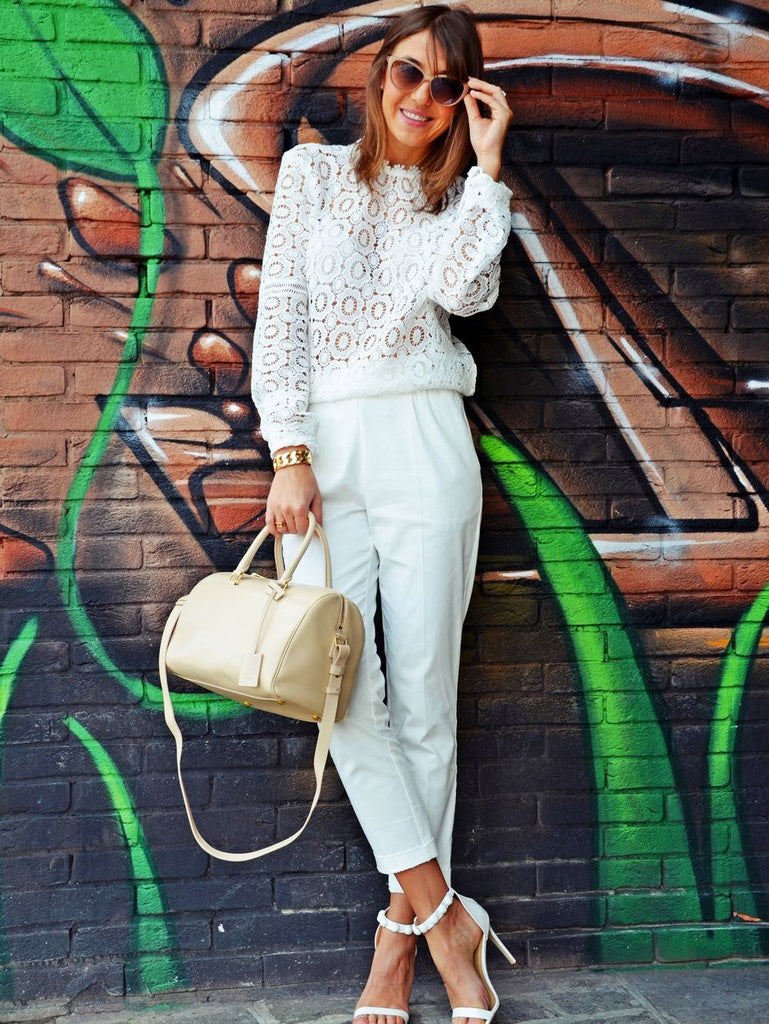 White Lace Mock Neck Blouse - The Style Syndrome  - 4