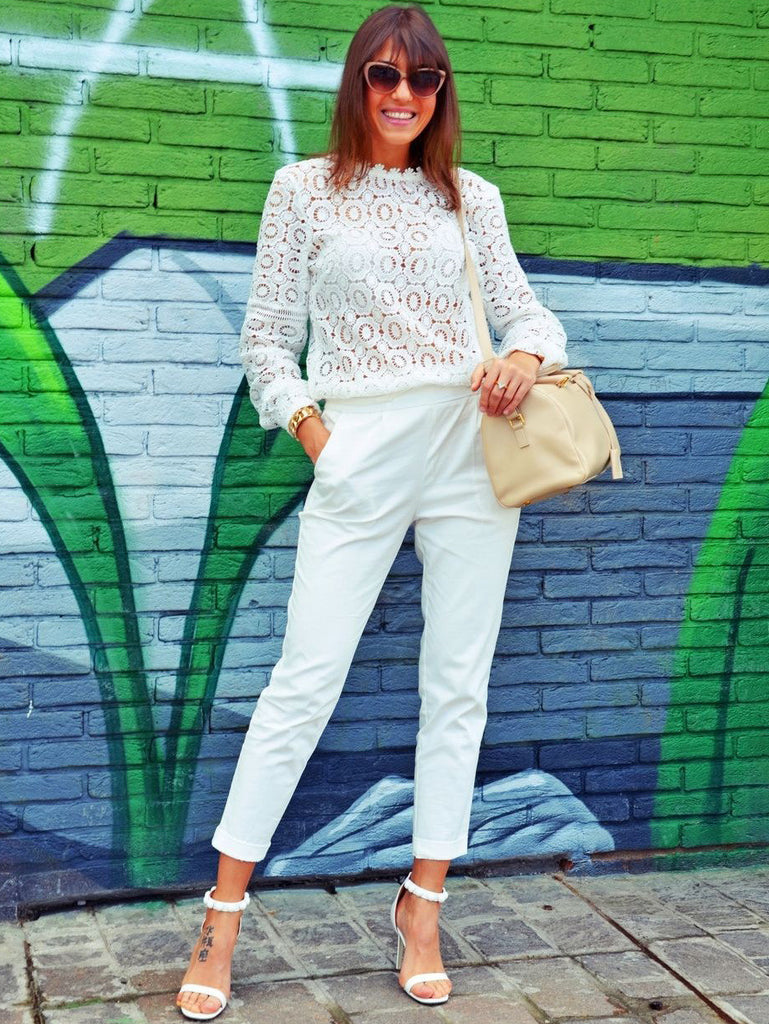 White Lace Mock Neck Blouse - The Style Syndrome  - 2