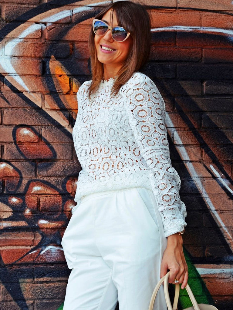 White Lace Mock Neck Blouse - The Style Syndrome  - 3