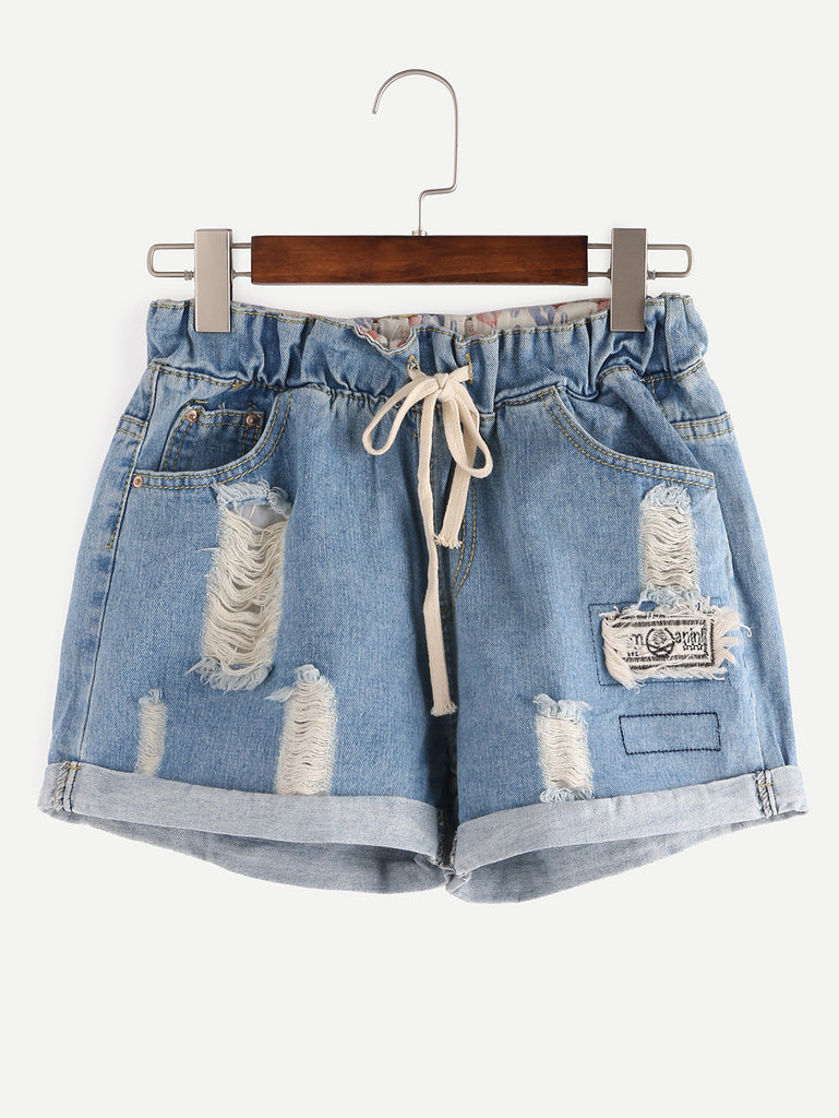 Ripped Drawstring Waist Rolled Hem Blue Denim Shorts - The Style Syndrome  - 1