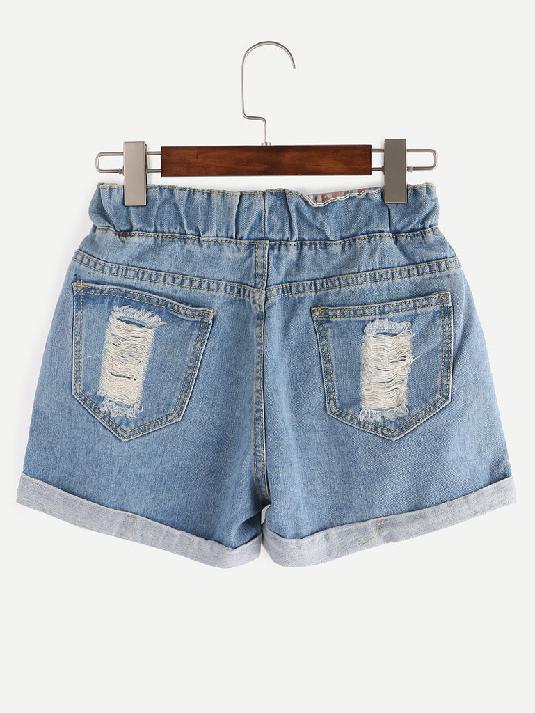 Ripped Drawstring Waist Rolled Hem Blue Denim Shorts - The Style Syndrome  - 4