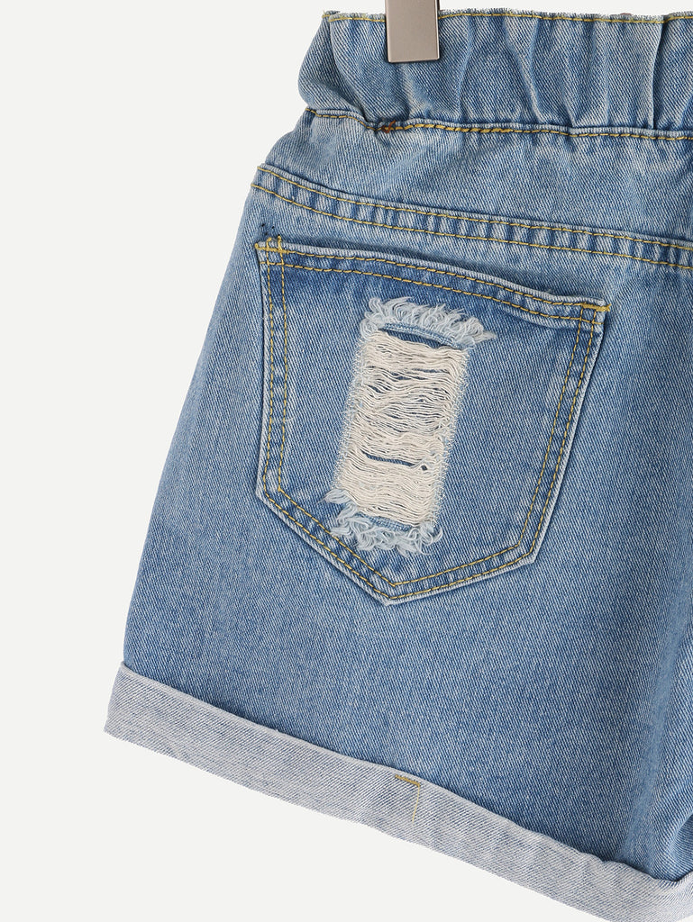 Ripped Drawstring Waist Rolled Hem Blue Denim Shorts - The Style Syndrome  - 3