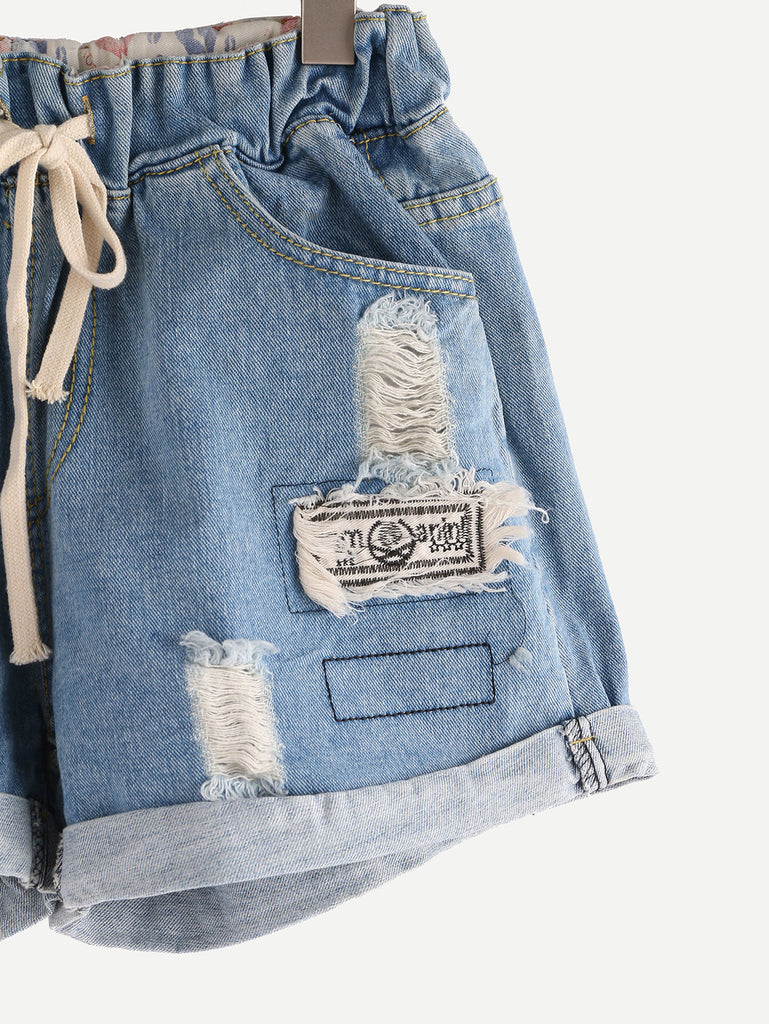 Ripped Drawstring Waist Rolled Hem Blue Denim Shorts - The Style Syndrome  - 2