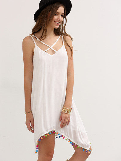 White Crisscross Spaghetti Strap Pom-pom Asymmetrical Dress RZX - The Style Syndrome  - 2