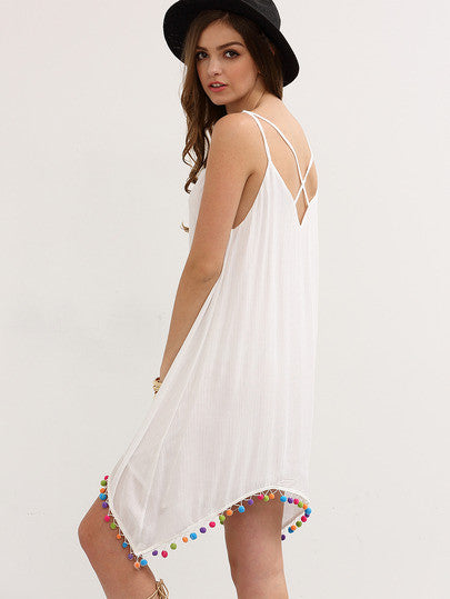 White Crisscross Spaghetti Strap Pom-pom Asymmetrical Dress RZX - The Style Syndrome  - 3