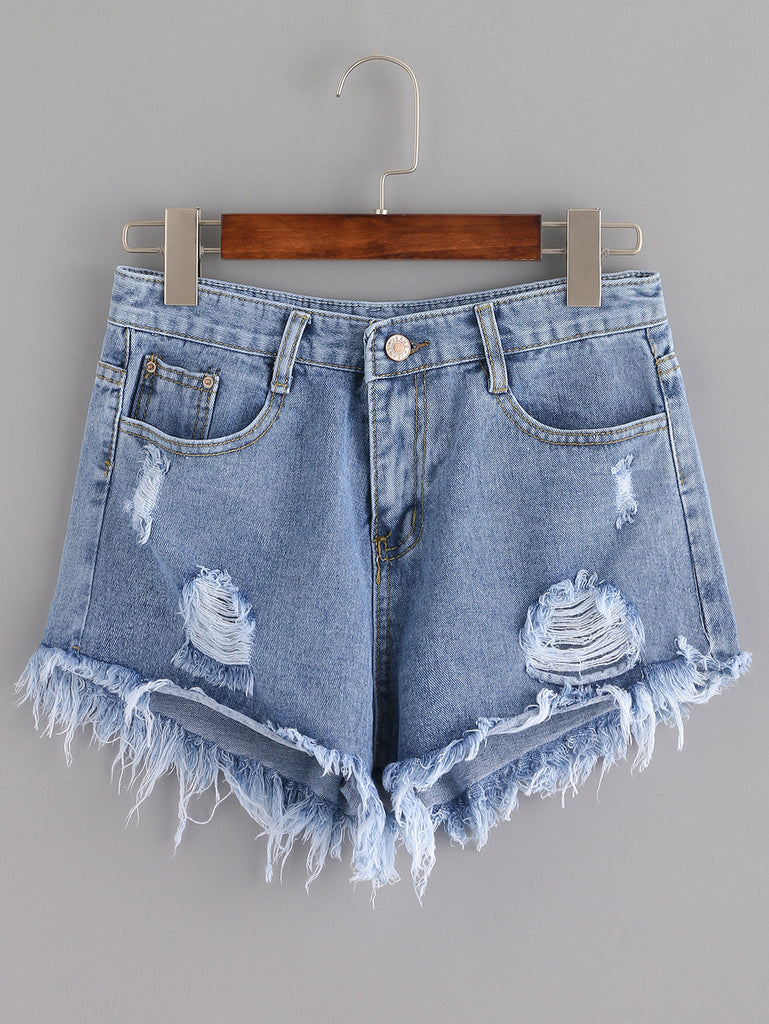 Blue Ripped Tassel Denim Shorts - The Style Syndrome  - 1