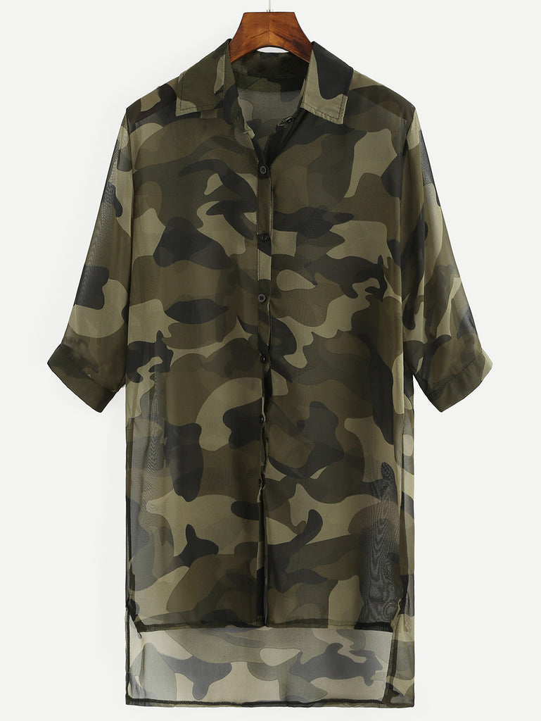 RZX Olive Green Camo Print High-Low Chiffon Blouse
