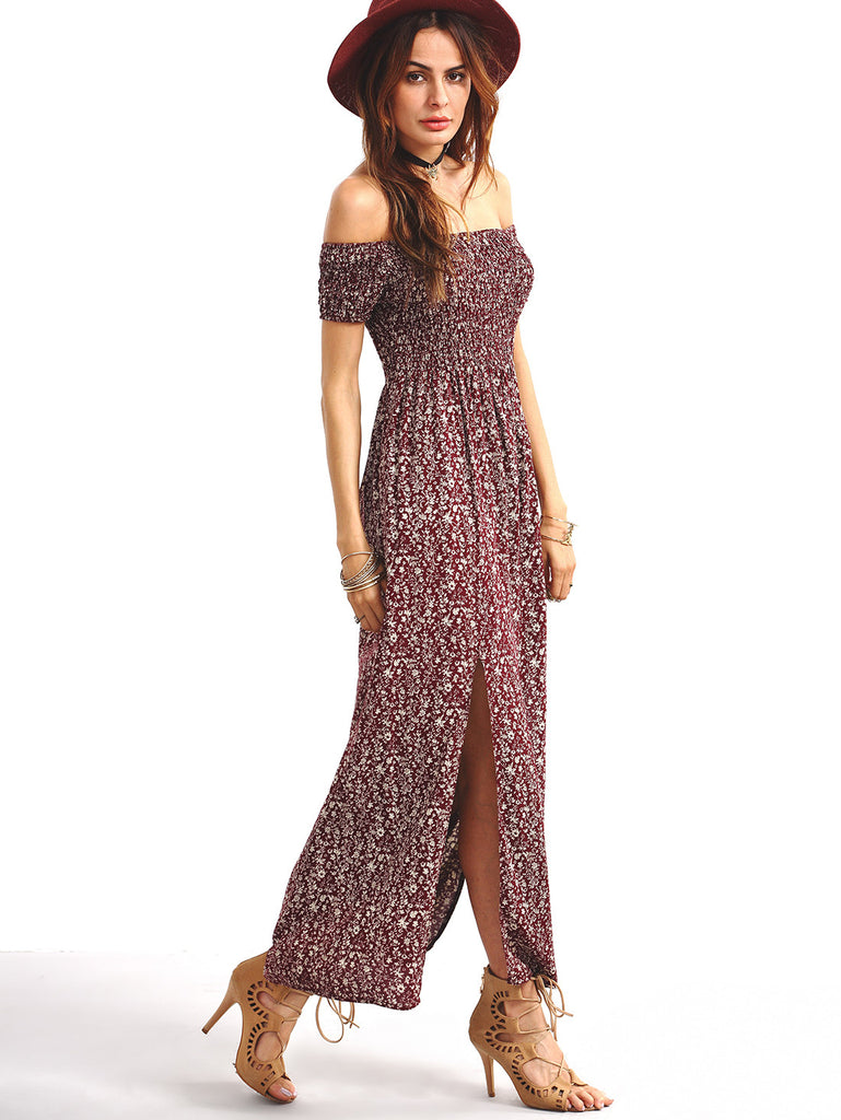 Shirred Off-The-Shoulder Slit-Front Floral Dress - Burgundy - The Style Syndrome  - 2
