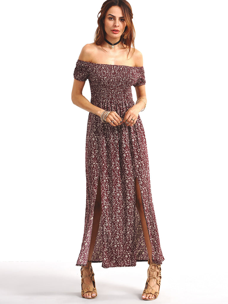 Shirred Off-The-Shoulder Slit-Front Floral Dress - Burgundy - The Style Syndrome  - 3