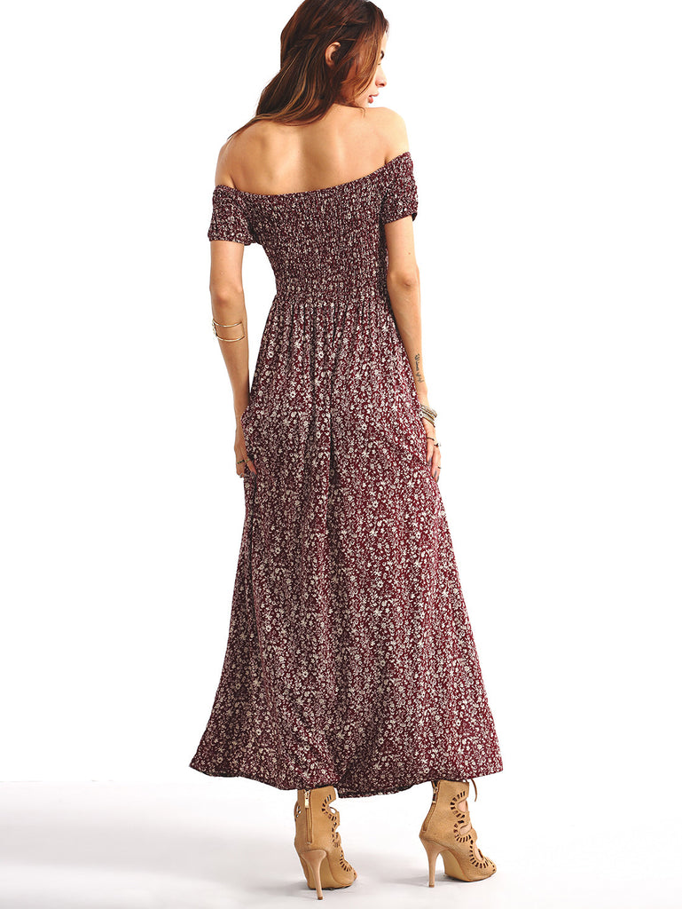 Shirred Off-The-Shoulder Slit-Front Floral Dress - Burgundy - The Style Syndrome  - 4