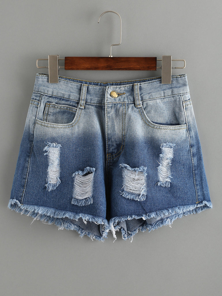 Ripped Raw Hem Blue Ombre Denim Shorts - The Style Syndrome  - 1