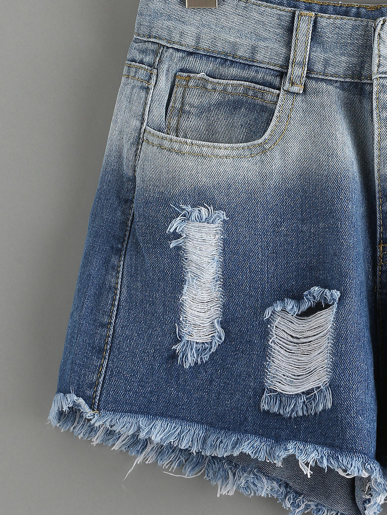 Ripped Raw Hem Blue Ombre Denim Shorts - The Style Syndrome  - 2
