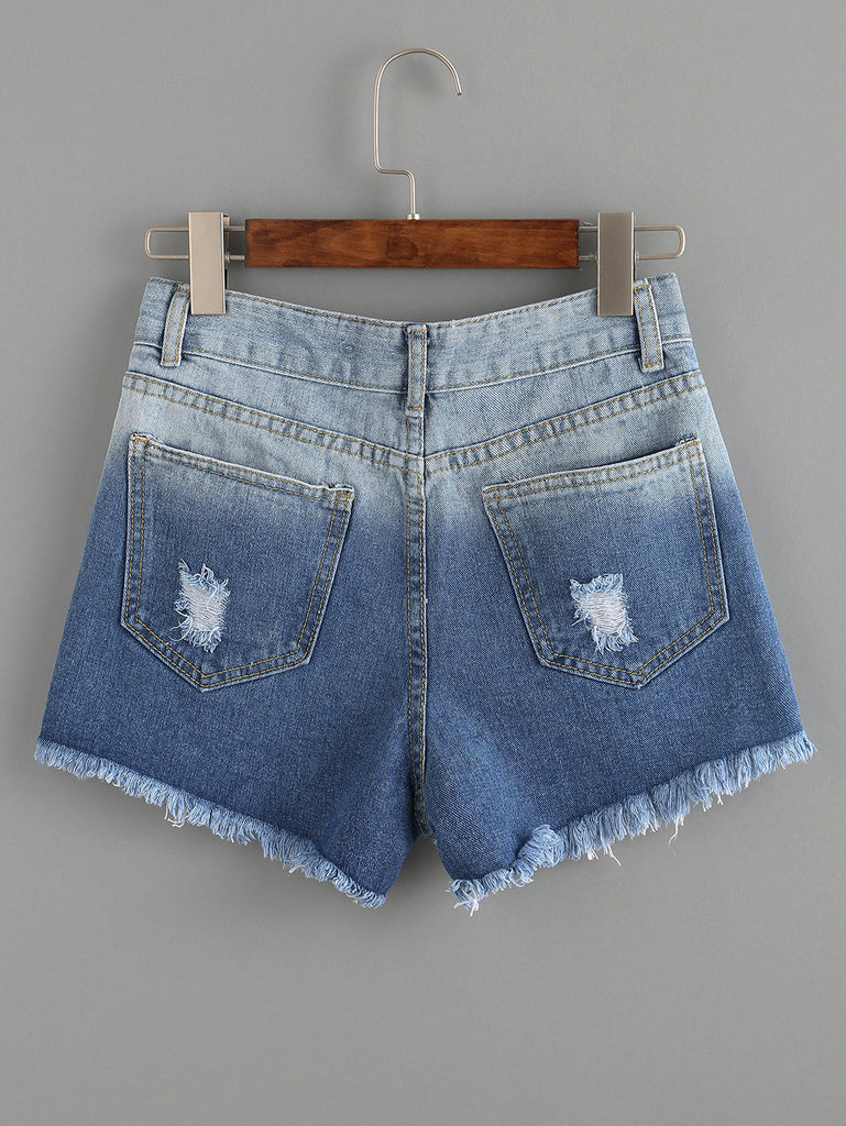 Ripped Raw Hem Blue Ombre Denim Shorts - The Style Syndrome  - 3
