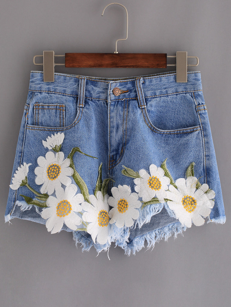 Frayed Embroidered Flower Applique Blue Denim Shorts - The Style Syndrome  - 1