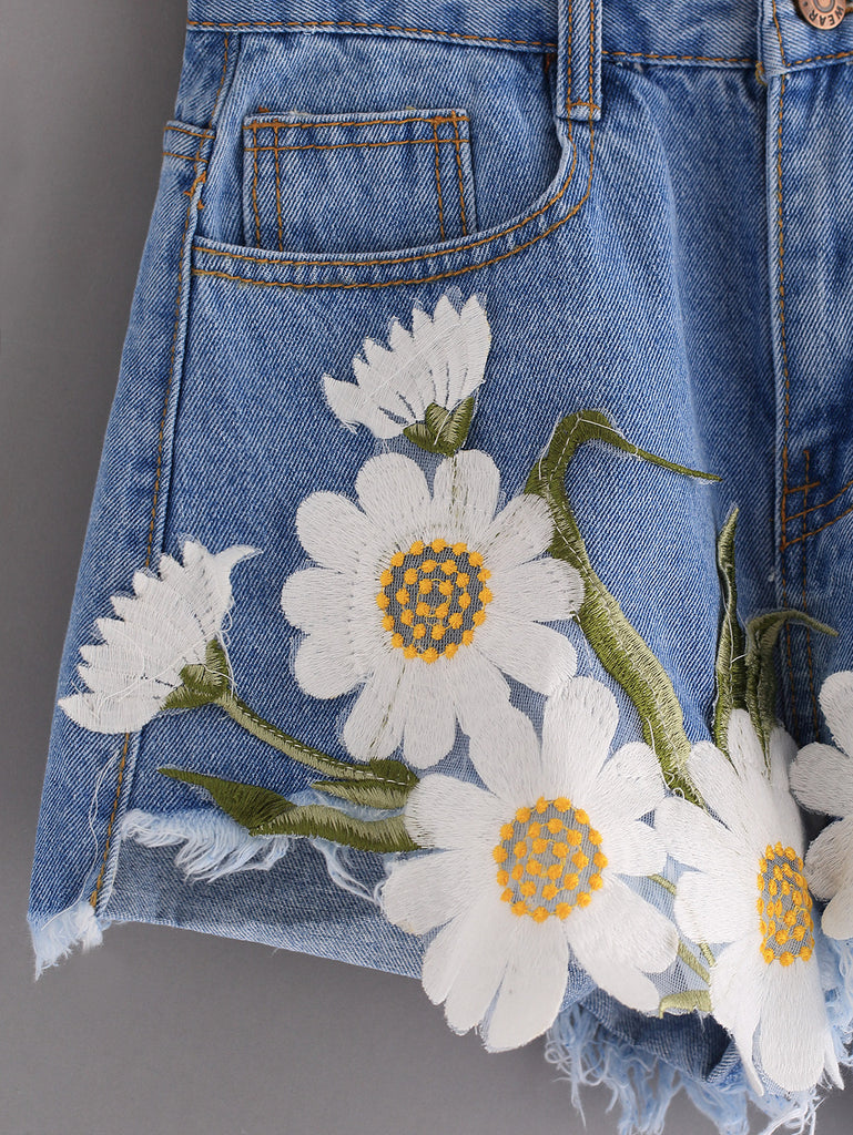 Frayed Embroidered Flower Applique Blue Denim Shorts - The Style Syndrome  - 2