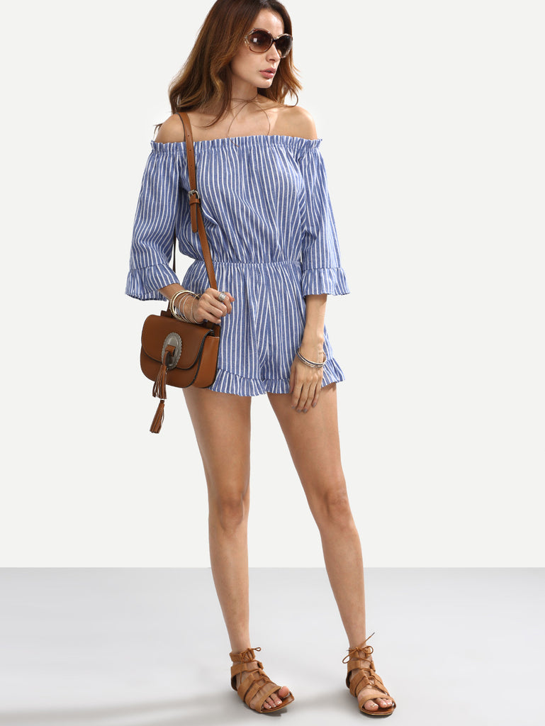 Blue Striped Off The Shoulder Ruffle Jumpsuit - The Style Syndrome  - 2