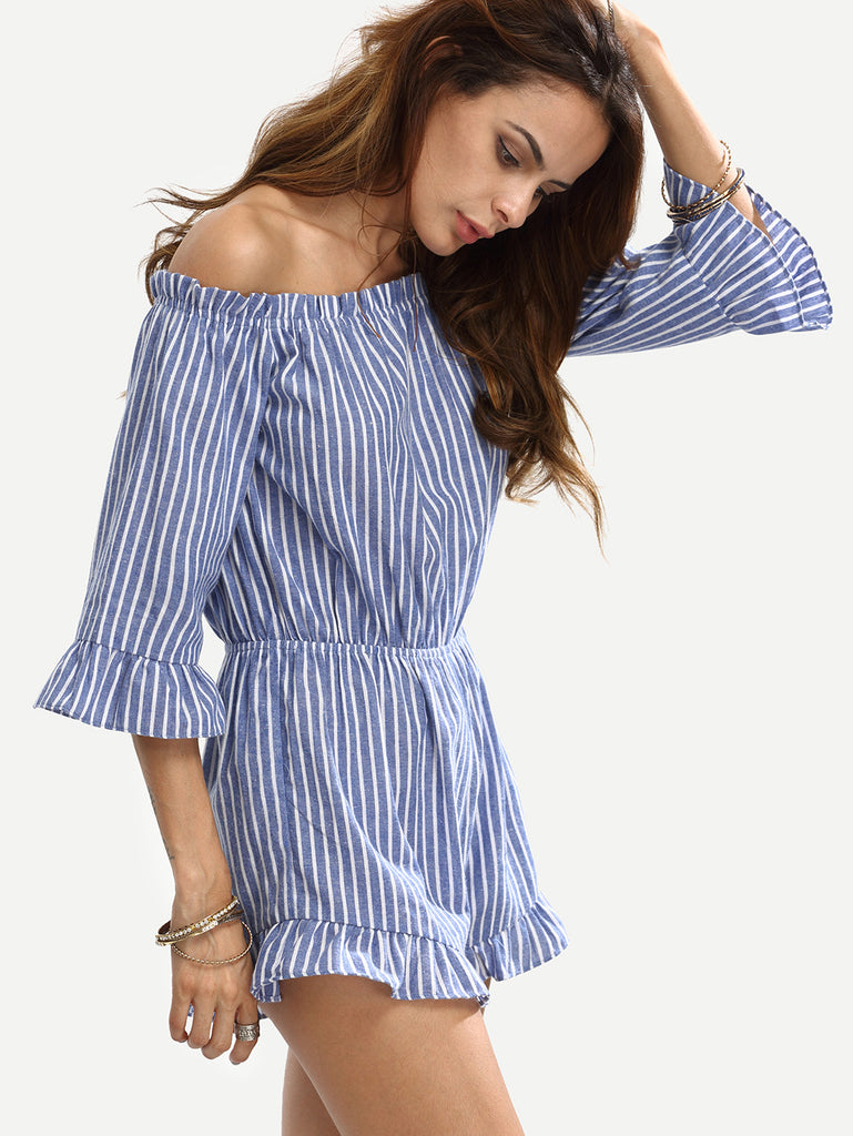 Blue Striped Off The Shoulder Ruffle Jumpsuit - The Style Syndrome  - 4