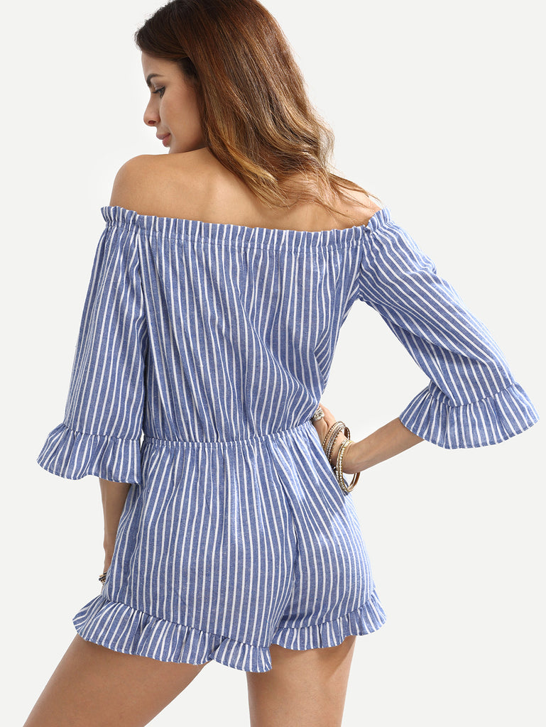 Blue Striped Off The Shoulder Ruffle Jumpsuit - The Style Syndrome  - 3