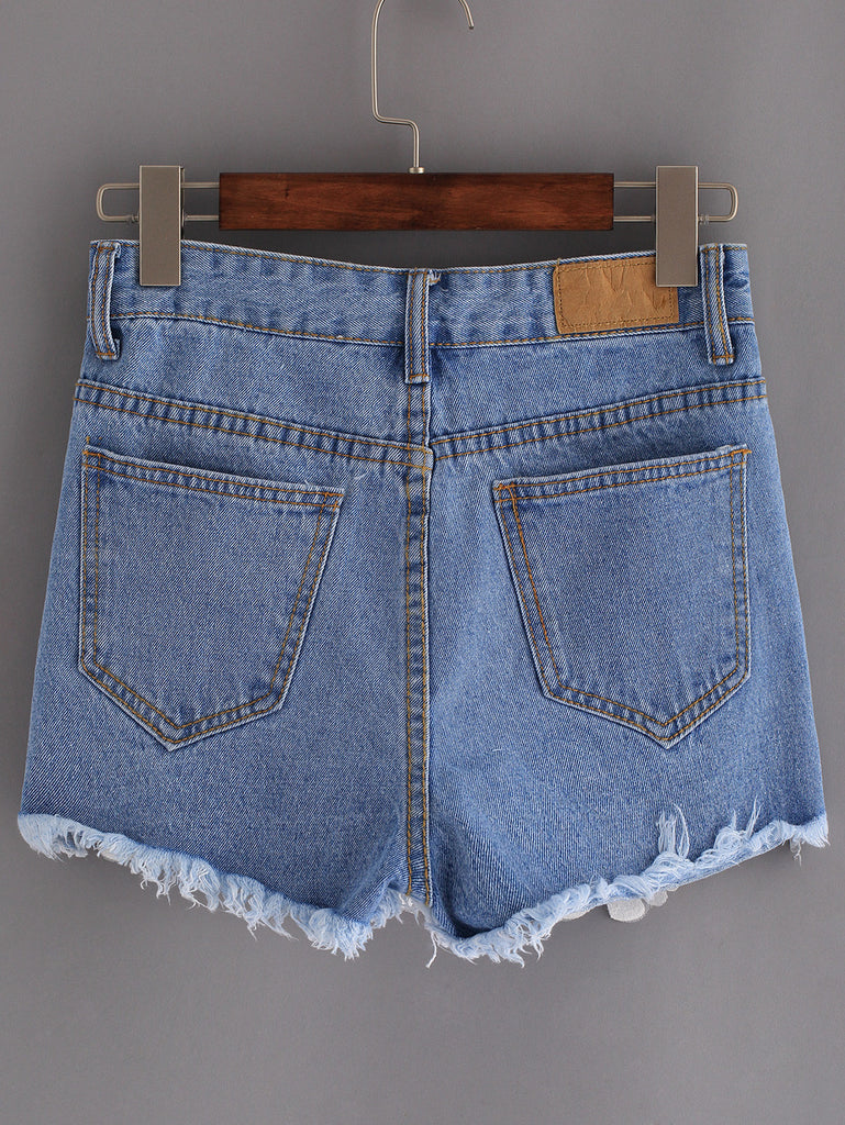 Frayed Embroidered Flower Applique Blue Denim Shorts - The Style Syndrome  - 4