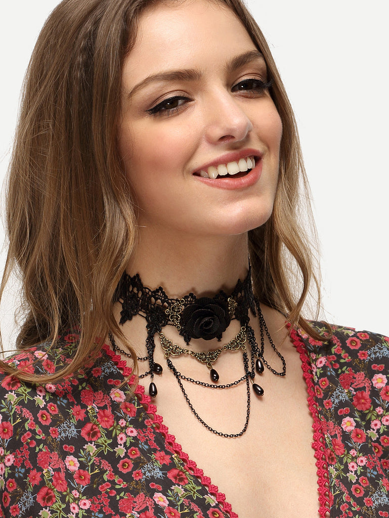 RZX Black Gemstone Metal Lace Necklace - The Style Syndrome  - 1