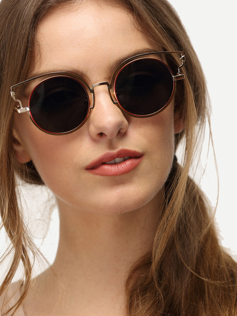 Cat Eye Grey Lenses Round Sunglasses - The Style Syndrome  - 1