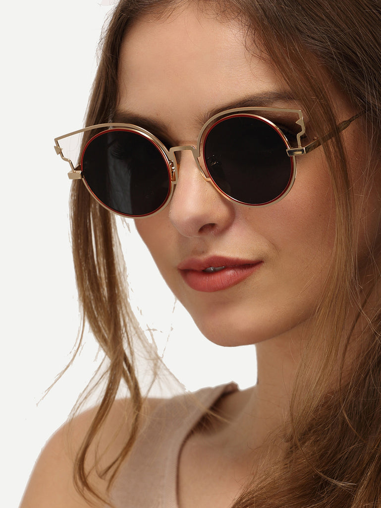Cat Eye Grey Lenses Round Sunglasses - The Style Syndrome  - 2
