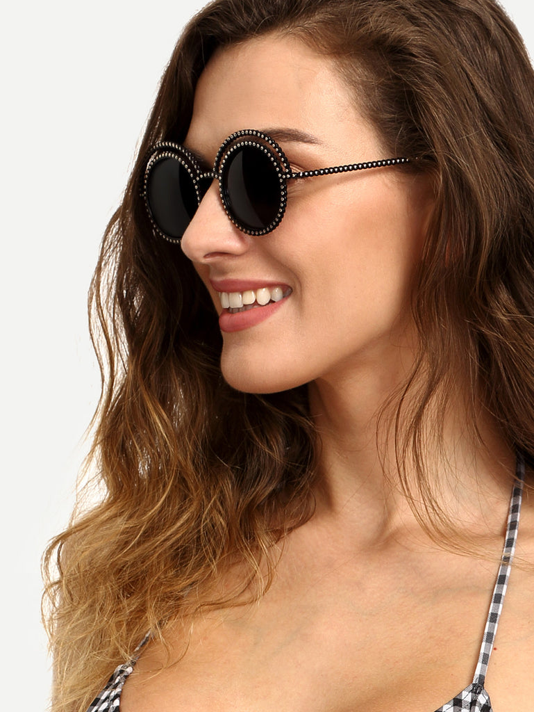 Metal Beaded Frame Round Grey Lenses Sunglasses - The Style Syndrome  - 1