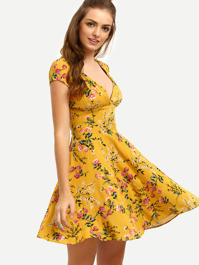 Yellow Floral V Neck Cutout Dress - The Style Syndrome  - 1