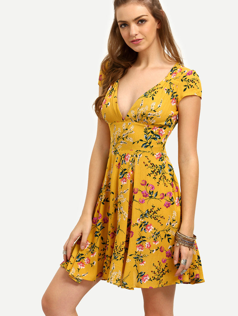 Yellow Floral V Neck Cutout Dress - The Style Syndrome  - 3