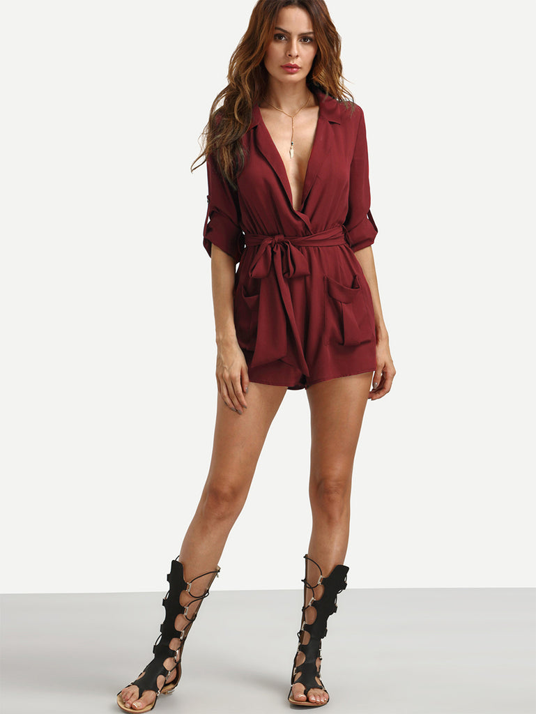 Burgundy Self-tie Waist Pockets Lapel Jumpsuit - The Style Syndrome  - 2