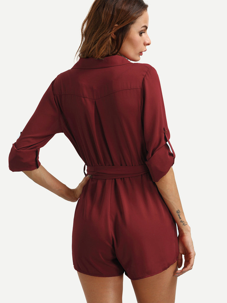 Burgundy Self-tie Waist Pockets Lapel Jumpsuit - The Style Syndrome  - 3