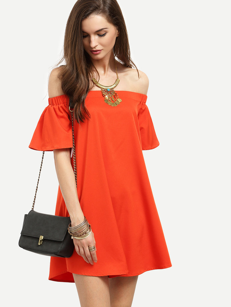 Red Ruffle Off The Shoulder Shift Dress RZX - The Style Syndrome  - 1