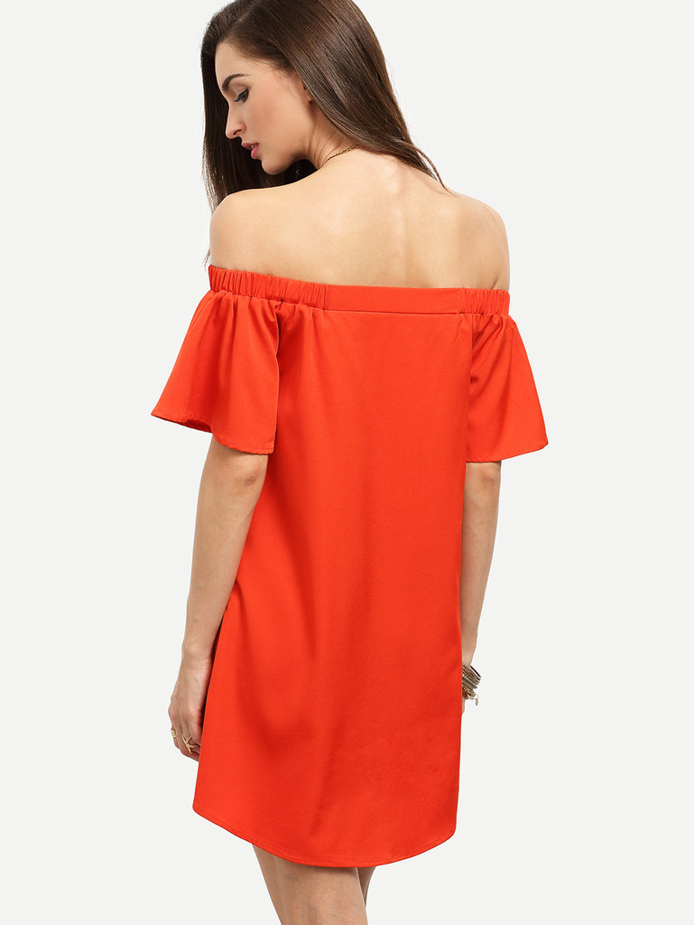 Red Ruffle Off The Shoulder Shift Dress RZX - The Style Syndrome  - 5