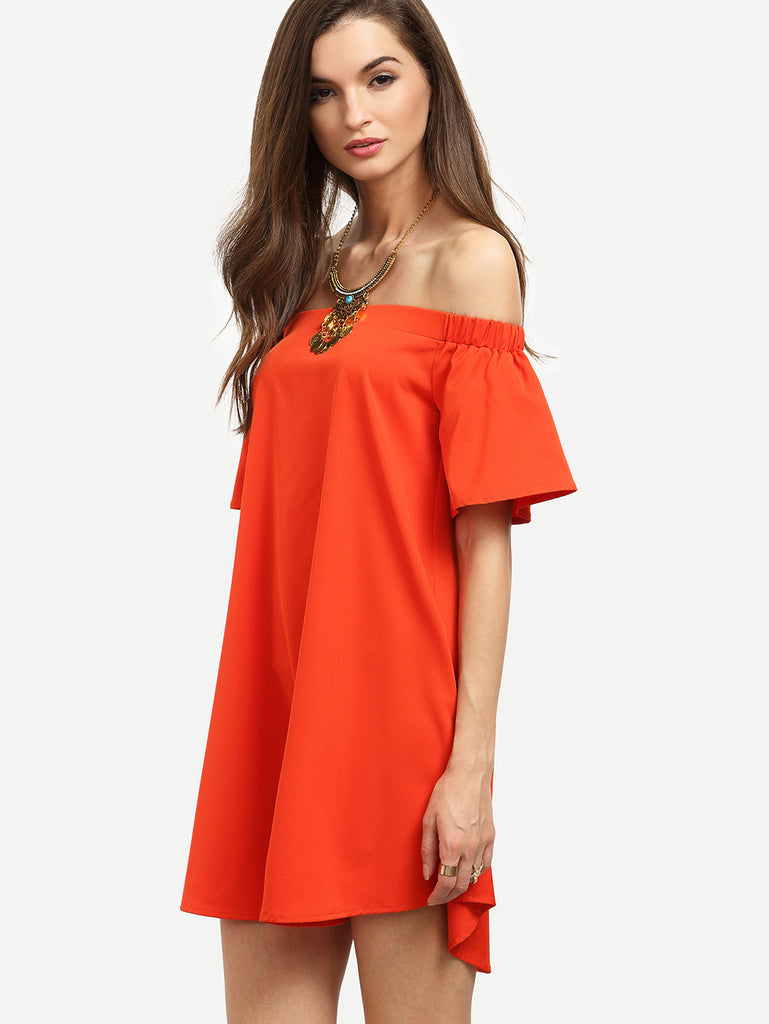 Red Ruffle Off The Shoulder Shift Dress RZX - The Style Syndrome  - 3