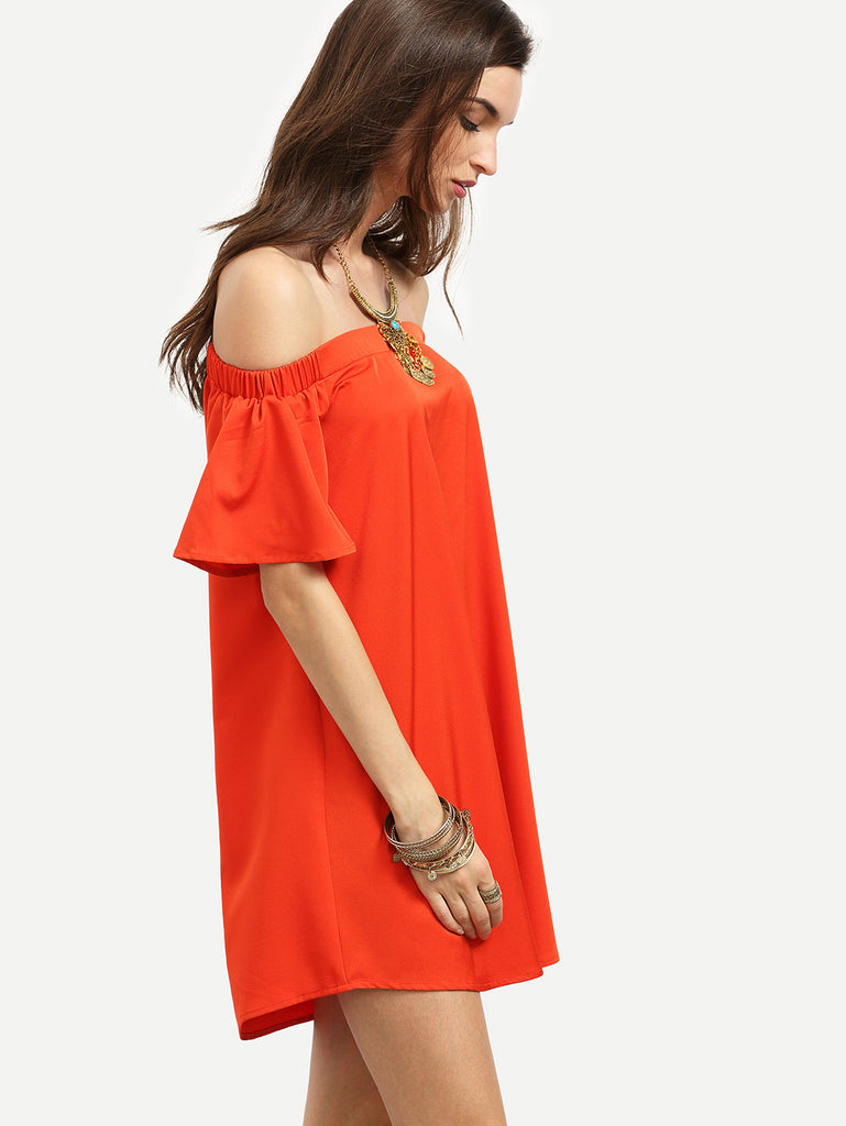 Red Ruffle Off The Shoulder Shift Dress RZX - The Style Syndrome  - 4