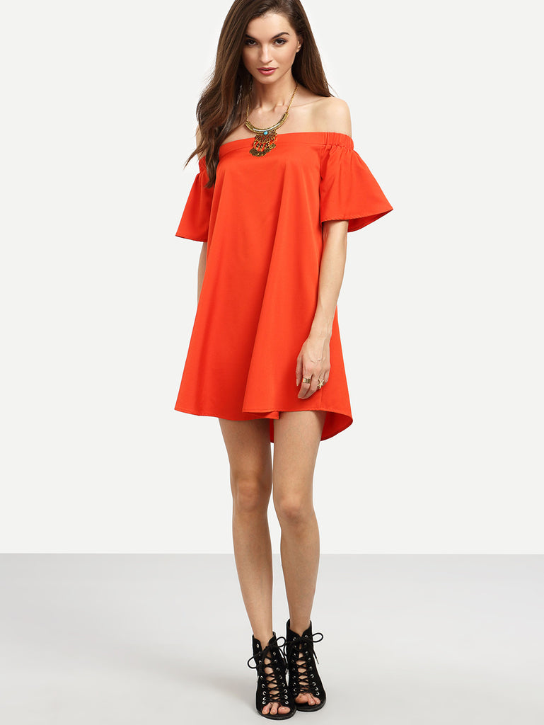 Red Ruffle Off The Shoulder Shift Dress RZX - The Style Syndrome  - 2
